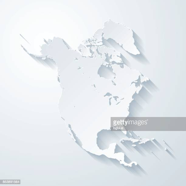 north america map with paper cut effect on blank background - north america stock illustrations