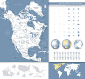 North America map.Grey and blue