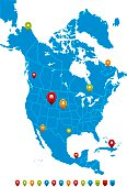 North America Map-High detailed Vector Illustration