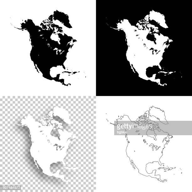 north america maps for design - blank, white and black backgrounds - north america stock illustrations