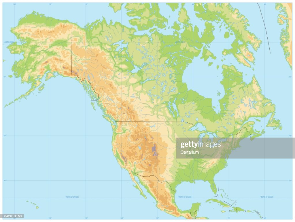 North America Physical Map No Text stock vector - Getty Images