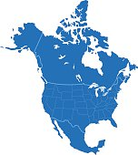 North America simple blue map on white background