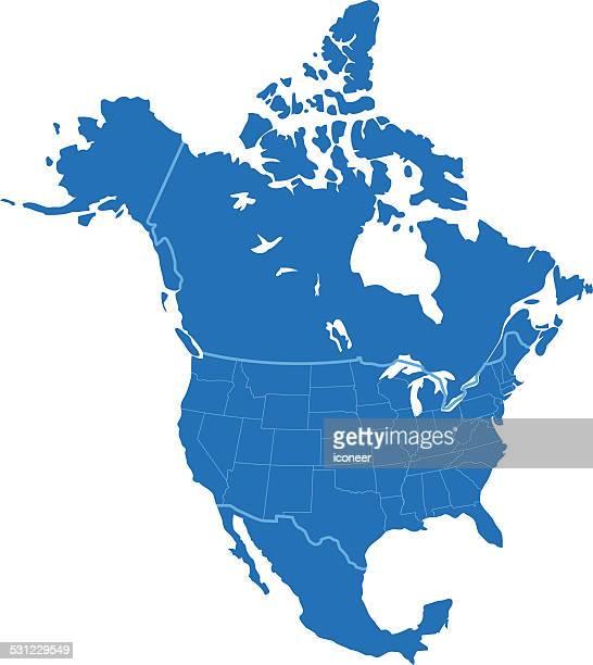 illustrazioni stock, clip art, cartoni animati e icone di tendenza di nord america mappa semplici blu su sfondo bianco - america del nord