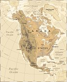 North America - Vintage Physical Map