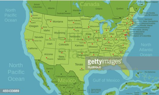 usa north american map with capitals and labels vector art