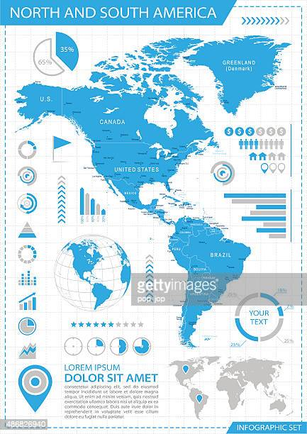 north and south america - infographic map - illustration - latin america stock illustrations, clip art, cartoons, & icons
