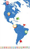 North and South America map and navigation icons - Illustration