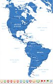 North and South America - map and navigation icons - illustration