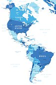 North and South America - map - illustration