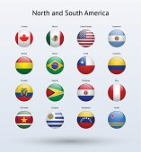 North and South America Round Flags Collection