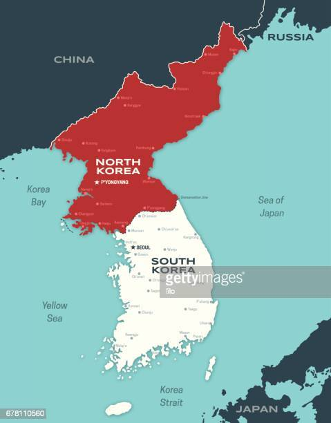 north and south korea korean peninsula map - country geographic area stock illustrations, clip art, cartoons, & icons