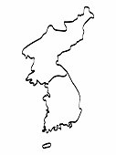 North and South Korea map outline graphic freehand drawing on white background. Vector illustration