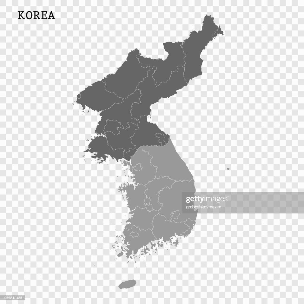 North and South Korea vector map