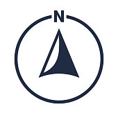 North arrow icon or N direction and navigation point symbol. Vector logo in circle for GPS navigator map