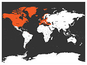 North Atlantic Treaty Organization, NATO, member countries highlighted by orange in world political map. 29 member states since June 2017