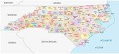 north carolina administrative and political map