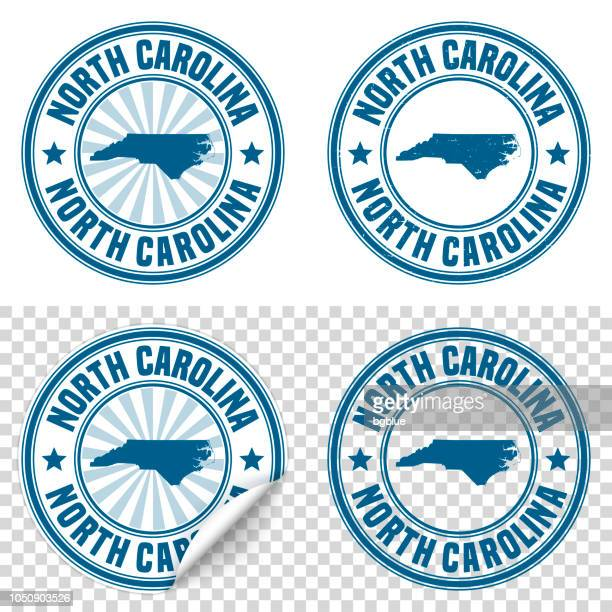 North Carolina - Blue sticker and stamp with name and map