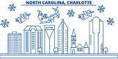 USA, North Carolina , Charlotte winter city skyline. Merry Christmas and Happy New Year decorated banner.Winter greeting card with snow and Santa Claus.Flat, line vector. Linear christmas illustration