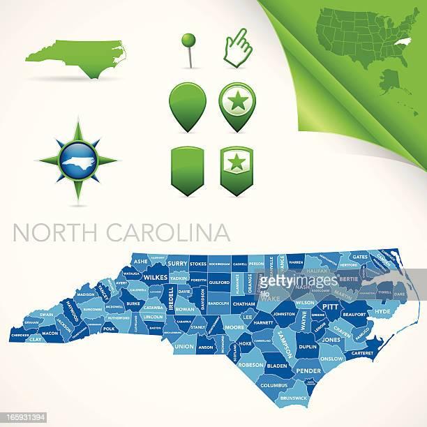 north carolina county map - north carolina us state stock illustrations