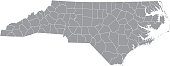 North Carolina county map vector outline gray background. Map of North Carolina state of United States of America with counties borders