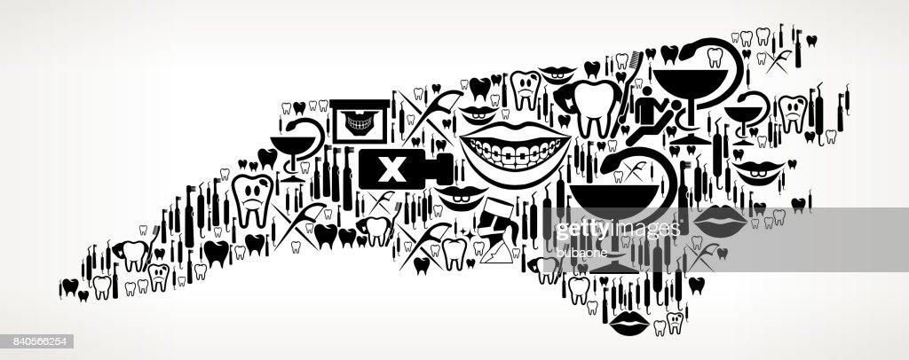 North Carolina Dentist And Dental Vector Icon Pattern stock