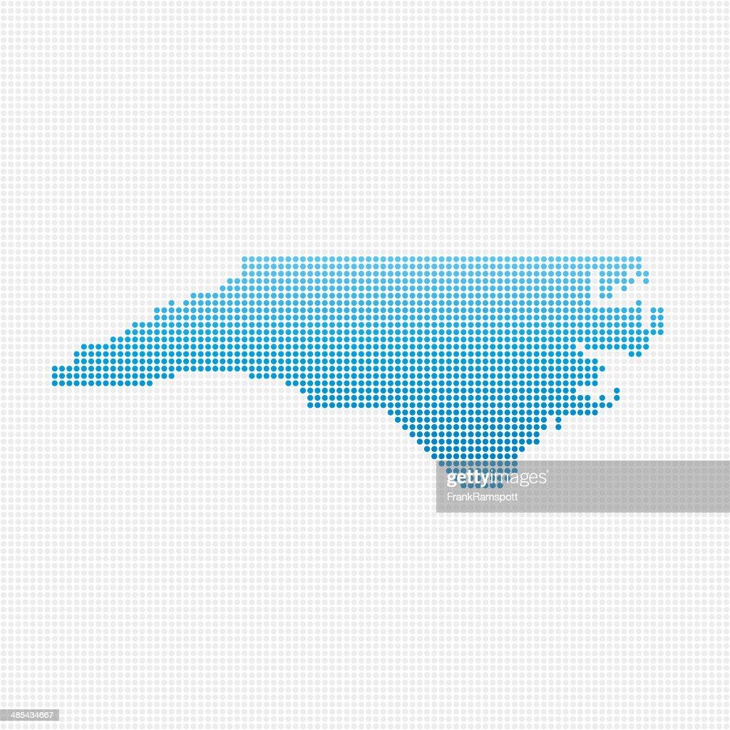 North Carolina-Karte Blau gepunktet : Vektorgrafik