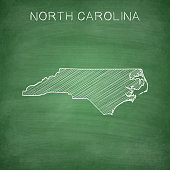 North Carolina map drawn on chalkboard - Blackboard