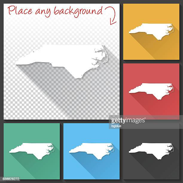 north carolina map for design, long shadow, flat design - charlotte long stock illustrations