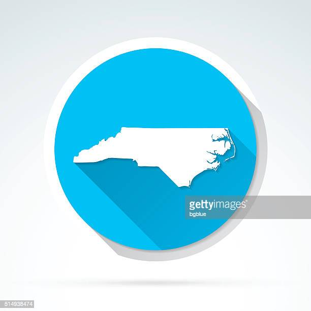 north carolina map icon, flat design, long shadow - country geographic area stock illustrations, clip art, cartoons, & icons