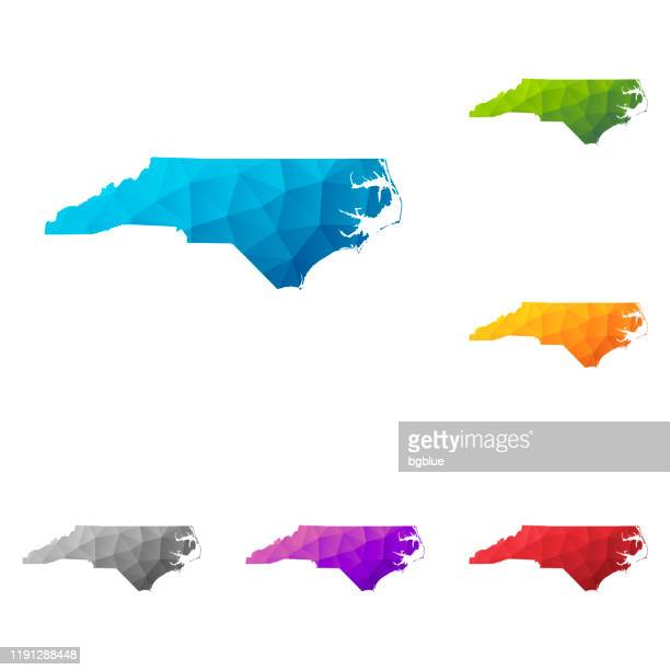 north carolina map in low poly style - colorful polygonal geometric design - north carolina us state stock illustrations