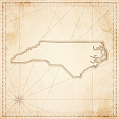 North Carolina map in retro vintage style - old textured paper