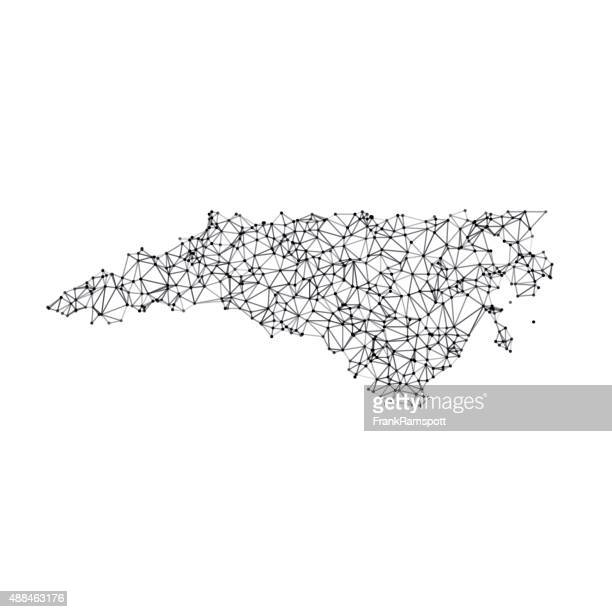 north carolina map network black and white - north carolina us state stock illustrations