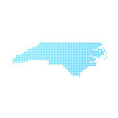 North Carolina map of blue dots on white background