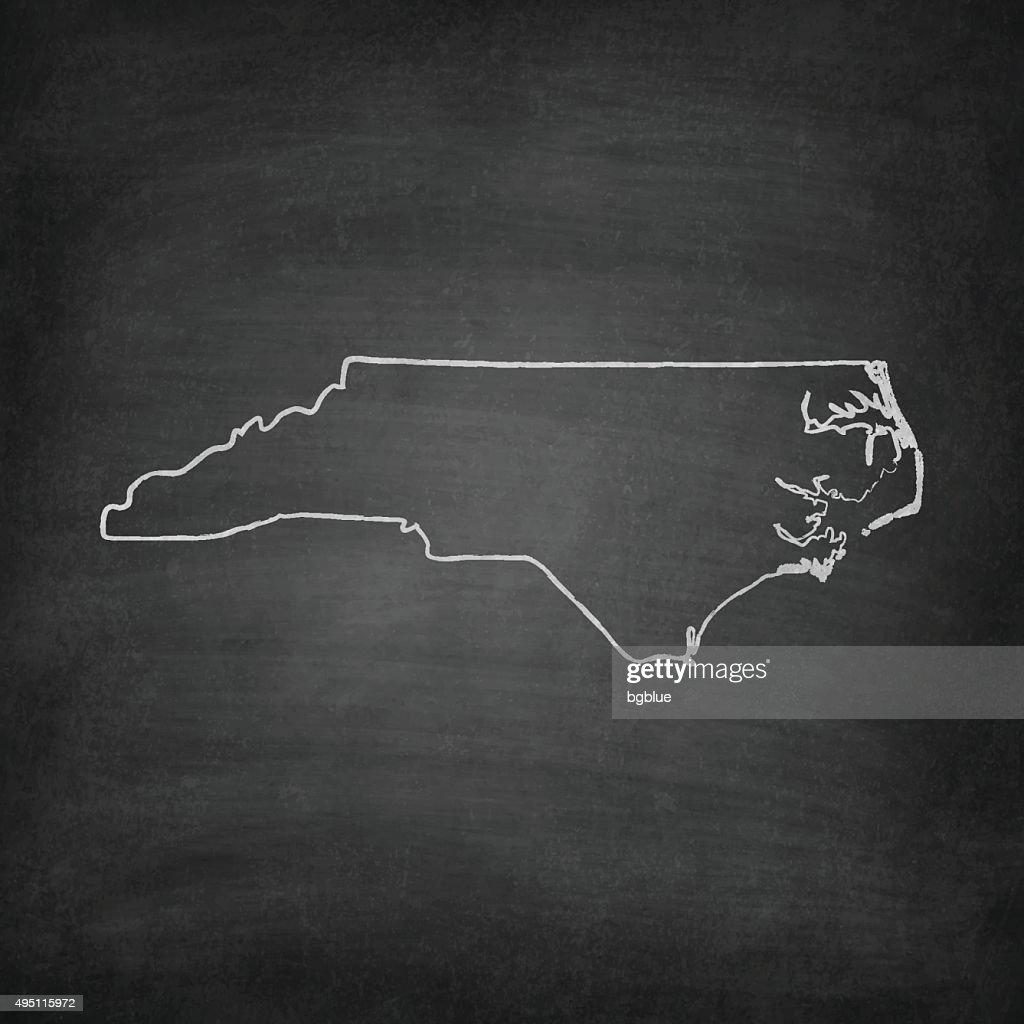 North Carolina Map on Blackboard - Chalkboard