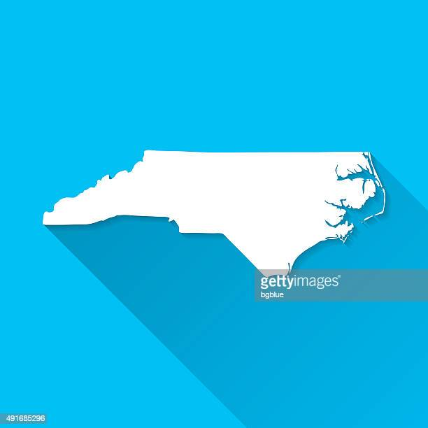 north carolina map on blue background, long shadow, flat design - charlotte long stock illustrations