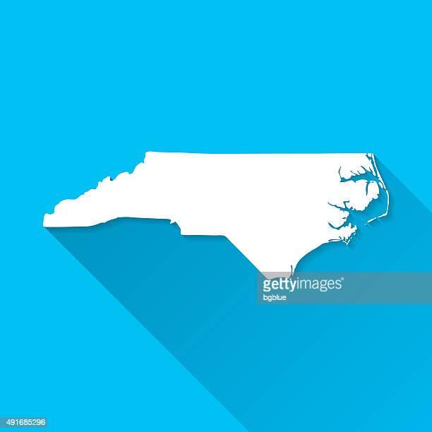 north carolina map on blue background, long shadow, flat design - north carolina us state stock illustrations