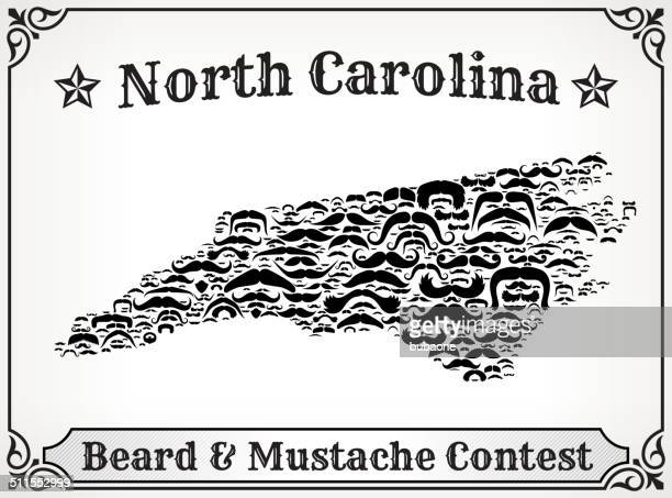 North Carolina Map on Mustache royalty free vector art Pattern
