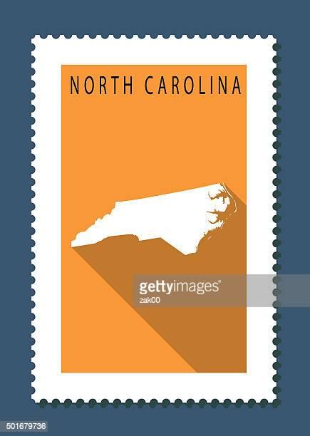 bildbanksillustrationer, clip art samt tecknat material och ikoner med north carolina map on orange background, long shadow, flat design - north carolina amerikansk delstat
