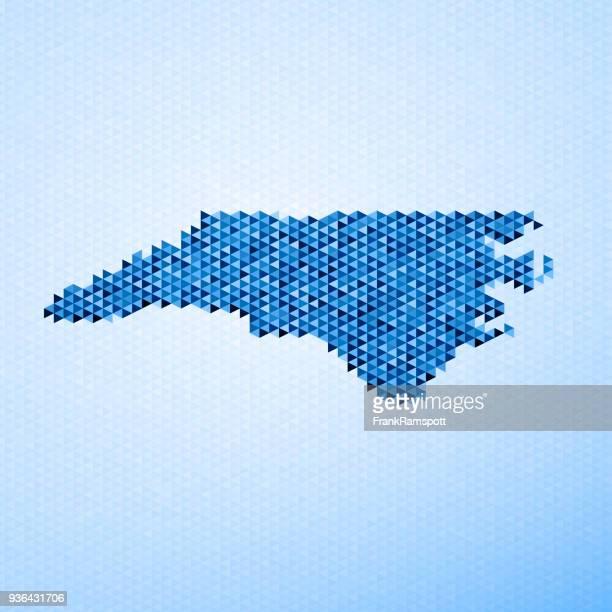 bildbanksillustrationer, clip art samt tecknat material och ikoner med north carolina karta triangel mönster blå - north carolina amerikansk delstat