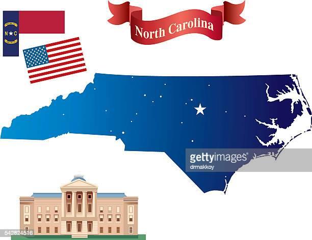 north carolina map - north carolina us state stock illustrations