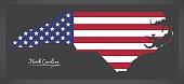 North Carolina map with American national flag illustration