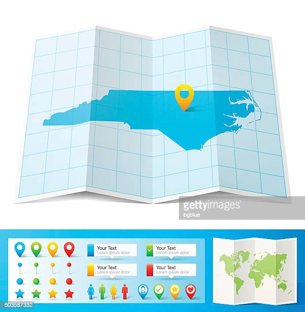 north carolina map with location pins isolated on white background - north carolina us state stock illustrations