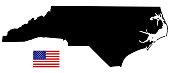 North Carolina map with USA flag