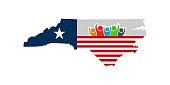 North Carolina People Support Vector Illustration