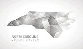 North Carolina polygonal grey vector map of America