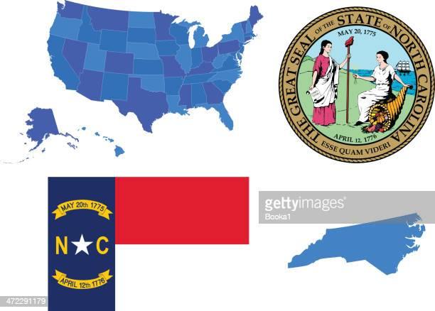 ノースカロライナ州セット - ノースカロライナ州点のイラスト素材/クリップアート素材/マンガ素材/アイコン素材