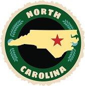 North Carolina travel sticker or luggage label