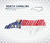 North Carolina vector map with flag inside isolated on a white background. Sketch chalk hand drawn illustration