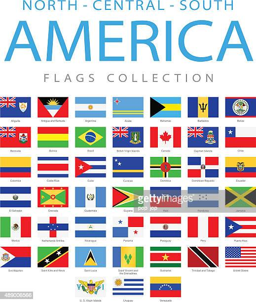 north, central and south america - flags - illustration - latin america stock illustrations, clip art, cartoons, & icons