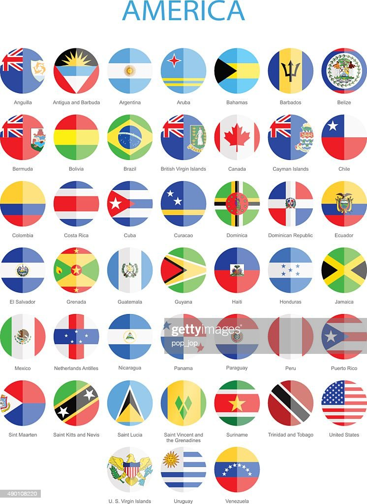 North, Central and South America - Flat Round Flags : stock illustration
